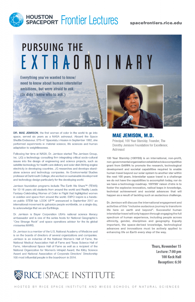 "Poster of ""Pushing the Extraordinary by Mae Jemison"""