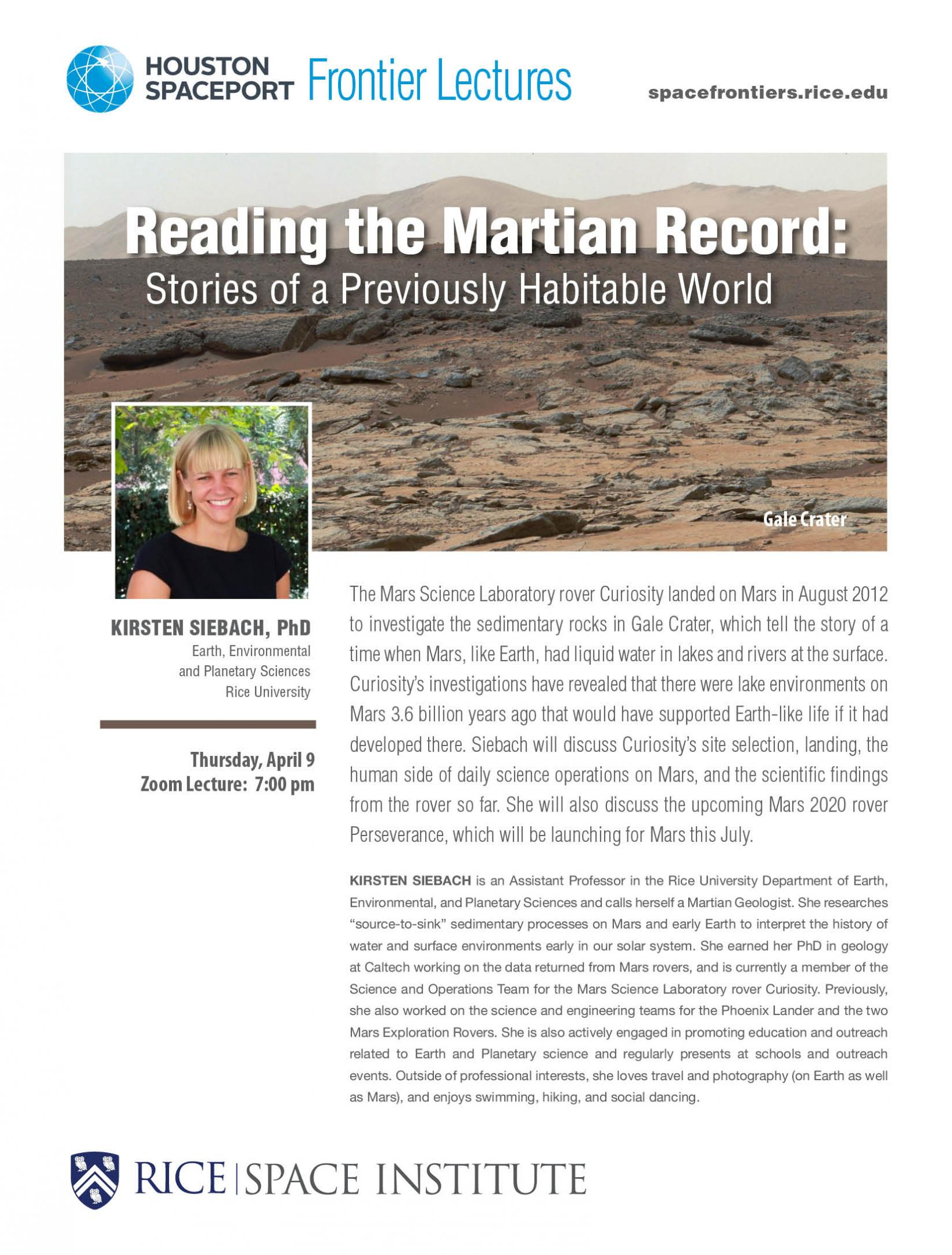 "Poster of ""Reading the Martian Record: Stories of a Previously Habitable World"""