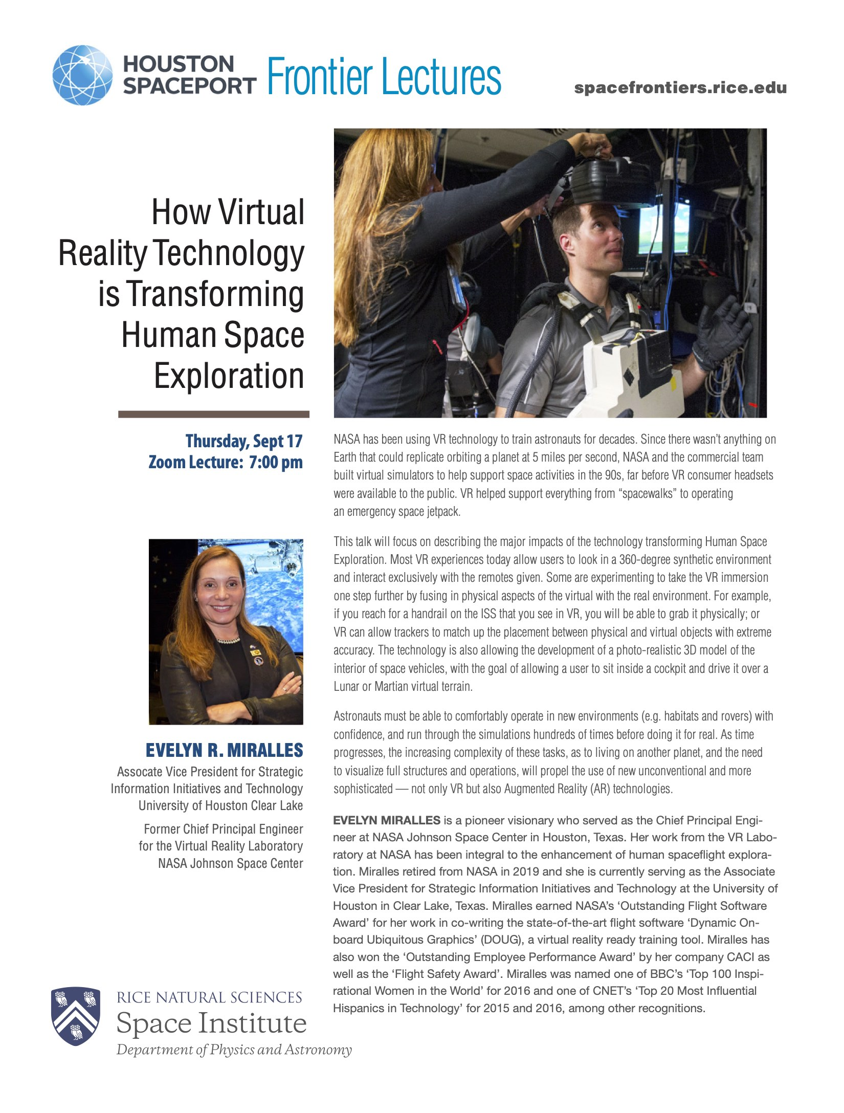 Poster of Evelyn Miralles' presentation on How VR Technology is Changing Human Space Exploration