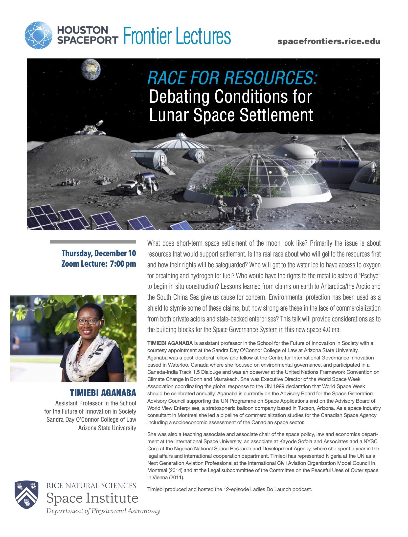 Timiebi Aganaba's Spaceport lecture poster