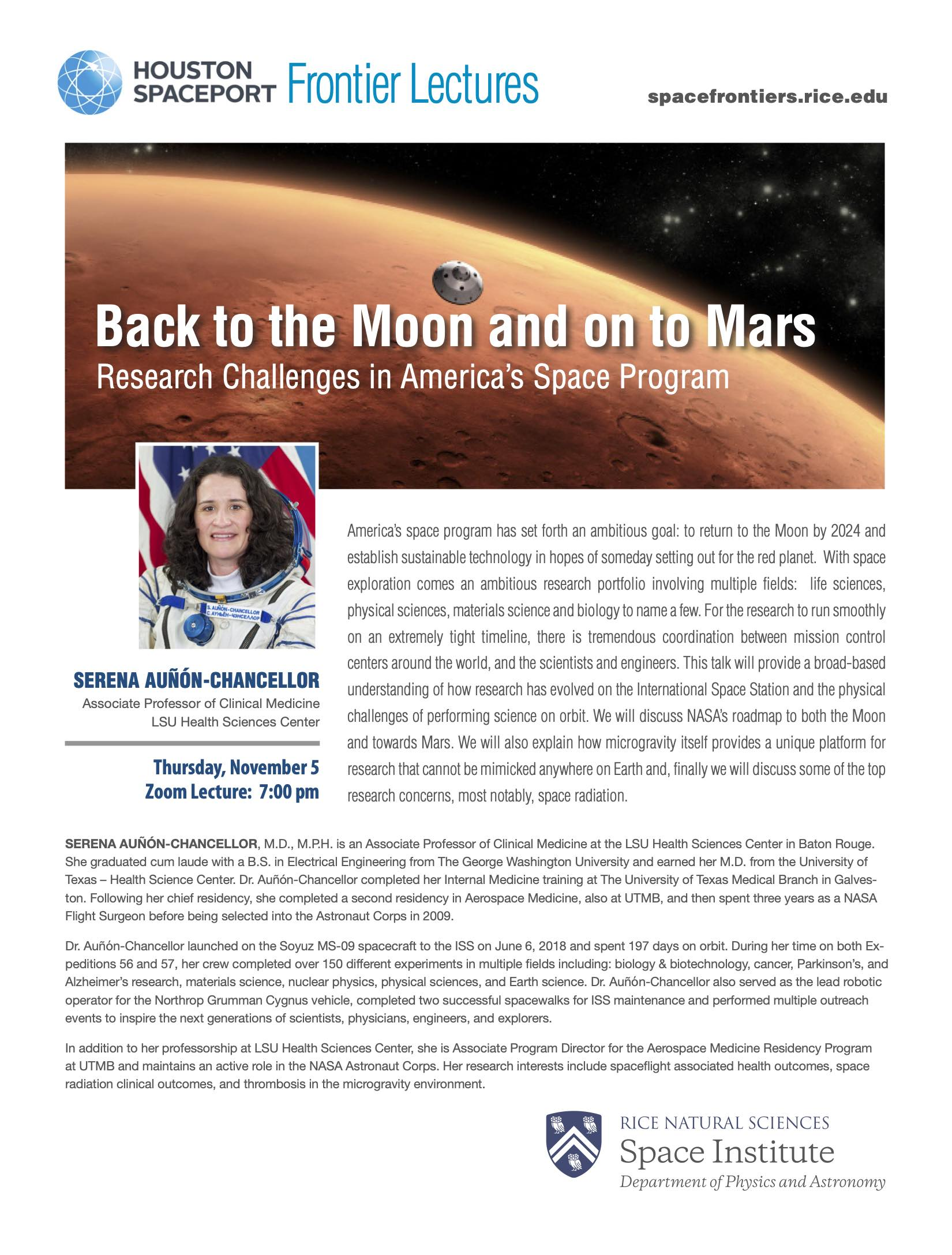 Poster of back to the moon and onto mars